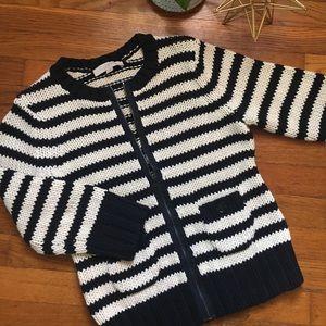 Loft Striped Zip Cardigan